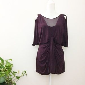 Bailey 44 Plum Cold Shoulder Silk Mesh Blouse